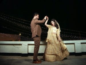 Man and woman dancing their first dance